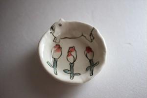 室井雑貨屋(室井夏実)|豆皿 ブルドッグと花