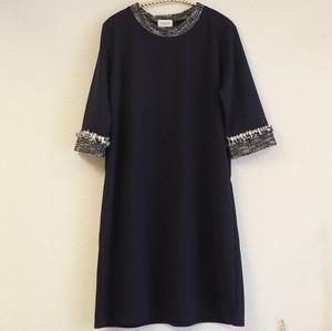 ワンピース7分袖 紺カラー