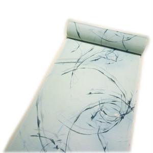 夏用 絽 東レシルック「梨乃景色」小紋着尺・反物(ブルー系に草花柄) [080140]
