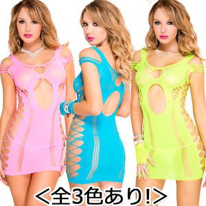 【ミニドレス】<全3色あり!>ネオンカラー オフショルダーデザイン サイドカットアウトミニドレスML6704