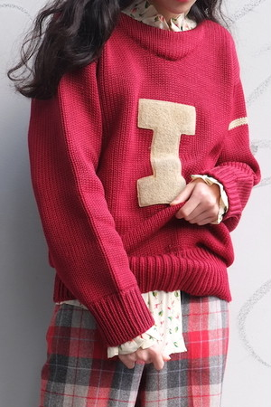 vintage/capital letter knit sweater.