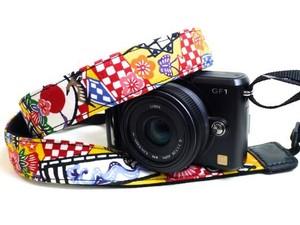 カメラストラップ 3㎝巾 ミラーレス&一眼レフカメラ用 片面 紅型デザイン 八重山のかりゆし