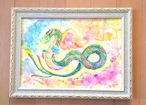 *水彩原画*虹色ベール・水の宝珠を持つ龍*
