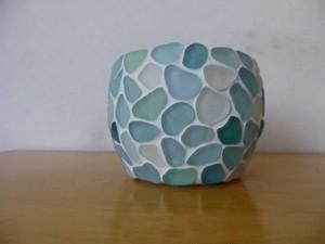 シーグラスのマルチホルダー(陶器)水色系