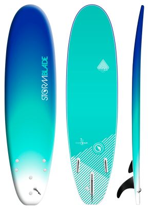 Storm Blade 7ft Surfboard / BLUE FADE  TURQUOISE GRAPHIC