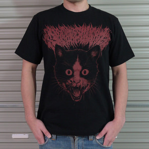 Putrid Cat T-shirt Black × Red