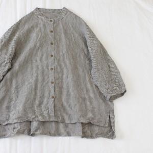リネン八分袖ストライプシャツ*No.5