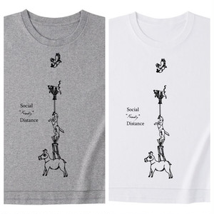 岡崎大樹デザイン「social friendly distance T shirts」2色