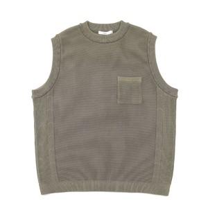 Wakakusa Knit Vest KHAKI BEIGE【YASHIKI】