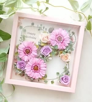 frame arrange 20cm角×35mm(パステルピンクフレーム gerbera pink)