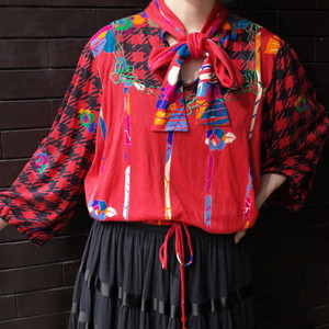 """""""Diane  Freis""""funny  patterned blouse ダイアンフレイス 総柄ブラウス"""