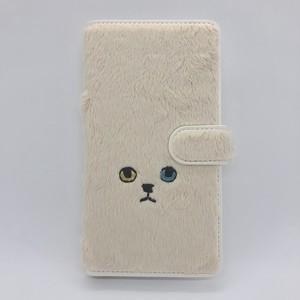 【Lサイズ】ネコ手帳マルチスマホケース オッドアイ【モコモコ生地】
