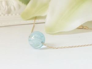 大粒宝石質のブルートパーズ一粒ネックレス