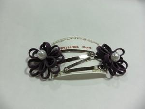 ヘアピン(花) パープル ハンドメイド 2個セット