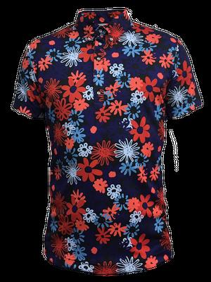 ゴルフプロ監修 紺×赤花柄メンズ半袖シャツ【日本製】18018