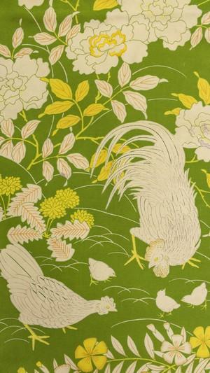 黄緑 鶏とひよこ 蒲公英 牡丹 名古屋帯