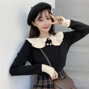 【トップス】韓国系スウィート清新切り替えラウンドカラー配色ニットセーター