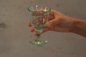 オリジナル琉球ガラス:ワイングラスecole de danceラムネ#8