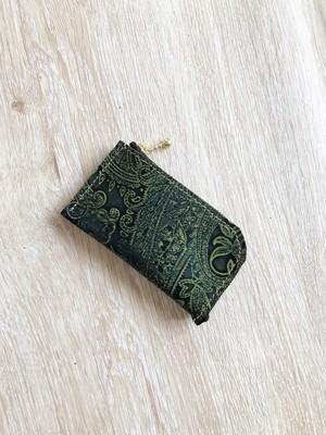 L字 カードケース ミニ 財布 本革 ペイズリー カーキ むら染め 名刺入れ