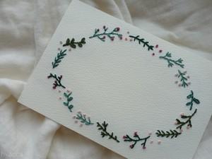草花フレームのフリーカード