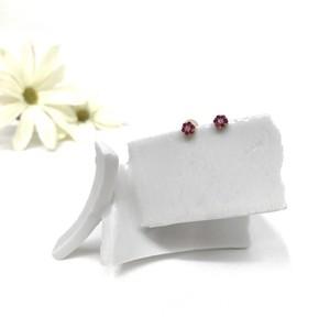 K18 ルビー&ダイヤモンドピアス 小花