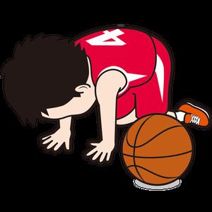 挫折する男子バスケット選手