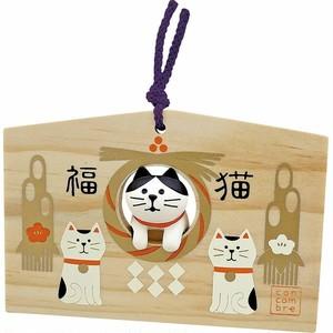デコレ  DECOLE  ひょっこり絵馬  猫 ハチワレ 正月飾り ねこのもり