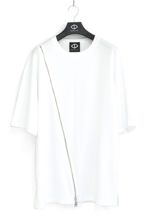 Diagonal Zip T-Shirts [White] / Tシャツ