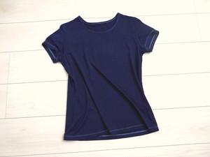◆100%自然素材 天然灰汁発酵建て 藍染◆ 竹布 半袖クルーネック Tシャツ(レディース)