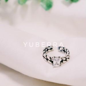 《送料無料・silver925》crystal chain ring 【814680302】シルバー925