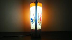 切り絵デザイン(丹頂) 木と深山和紙の 青森ヒバ木製 デザインランプ   No.   041