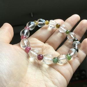 【オーダーT様】6ミリトルマリンと10ミリりんごカット水晶のブレス