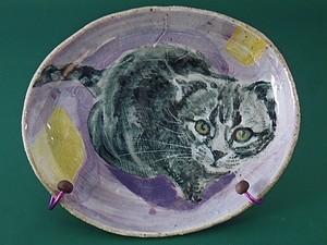 猫の絵皿・おねだり猫