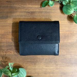 【牛革】ブラックボタン2つ折り財布〈ブラック〉 本革 メンズウォレット シンプル 2つ折り W0012