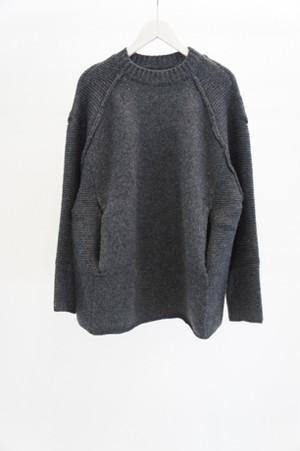 Lambswool Raglan Knit -CHARCOAL GRAY- / YOKO SAKAMOTO