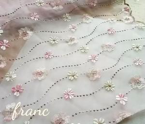 お花の刺繍オーガンジー 桜色50㎝