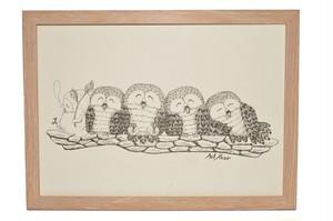 フクロウ かわいい イラスト 5羽  アート プリント 送料無料