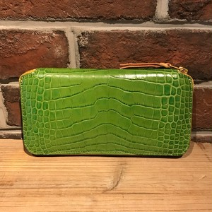Round Zipper Long Wallet TYPE2 Embossing Crocodile green