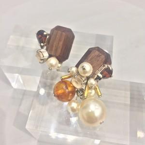 "【EL PRODUCTS】wood crystal 琥珀""ウォールナット""ピアス"