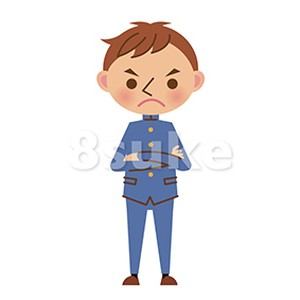 イラスト素材怒った表情の学生服姿の男子中学生高校生ベクター