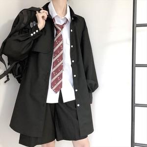 ジャケット シャツ ゴシック調 黒シャツ ビッグシルエット ゆるふわ ワッペン 長袖 病みかわいい ハードガール