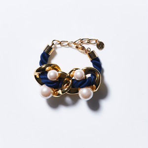 BIG CHAIN PEARL BRACELET (NAVY)