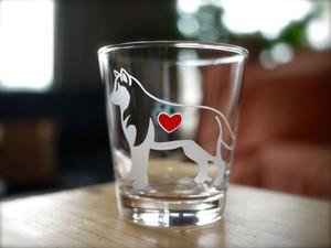 シベリアンハスキー彫刻グラス(ハート&クローバー)