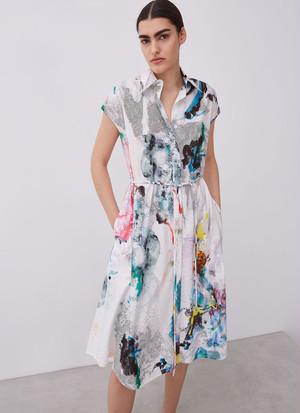 SHIRT DRESS WITH MULTI-COLOUR PRINT