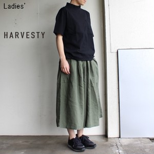 《18SS》HARVESTY リネンキュロットスカート A21804 (OLIVE)