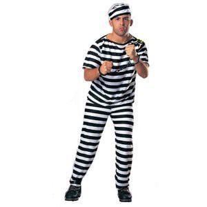 囚人服 囚人コスチューム 男性用 帽子/服/ズボンの3点セット