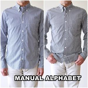 MANUALALPHABET  マニュアルアルファベット ギンガムチェックシャツ メンズ ボタンダウンシャツ BASIC-MK-048