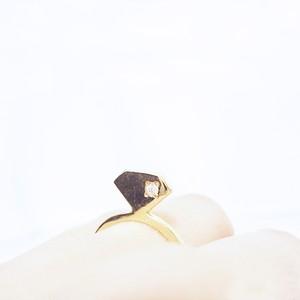 宝石のシルエットをかたどったリング【silhouette ring(gd)<石あり>】