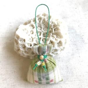 マースストラップ 花織 反物 みんさー 緑