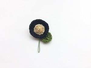 手編み*お花ブローチ(黒)